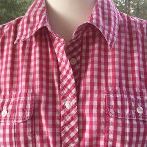 Tommy Hilfiger Pink/Wh. Gingham Short Sleeve. Sz L